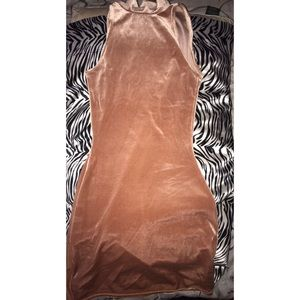 Petite Exclusive Brown High Neck Mini Dress